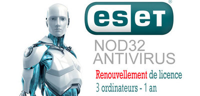 Renouvellement Antivirus NOD32 3PC 1an - Version électronique